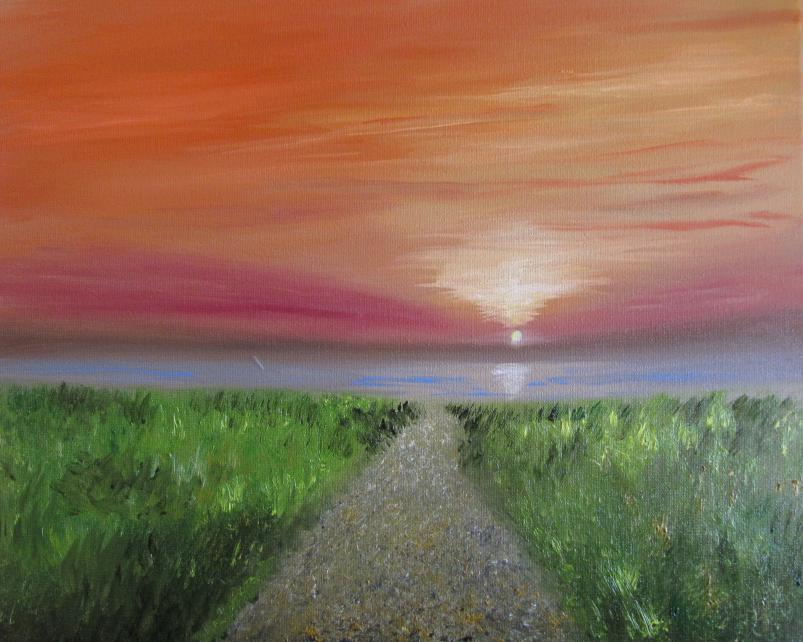 Sonnenuntergang 24 x 30 Öl auf Keilrahmen