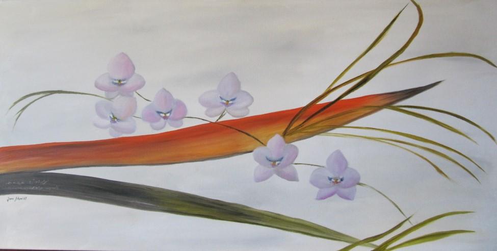 Orchideen 50 x 100 Öl auf Keilrahmen