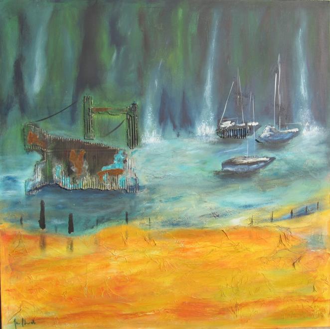 Wild River 100 x 100 Acryl auf Leinwand Mischtechnik