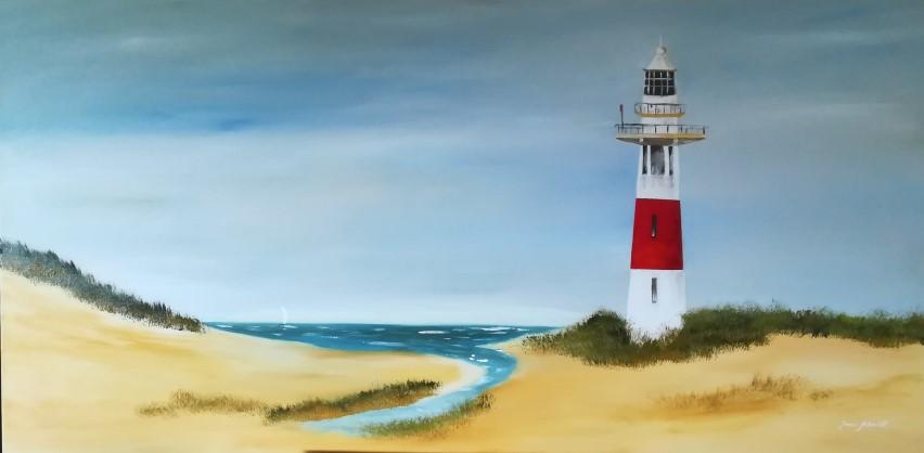 Leuchtturm 70 x 140 Öl auf 3 D Keilrahmen