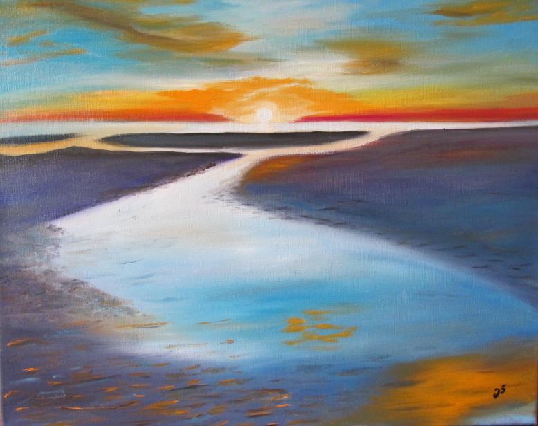Amrum Sonnenuntergang 40 x 50 Öl auf Keilrahmen