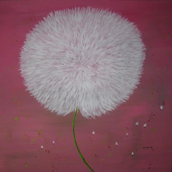 Pusteblume rosa 100 x 100 Acryl auf 3 D Keilrahmen