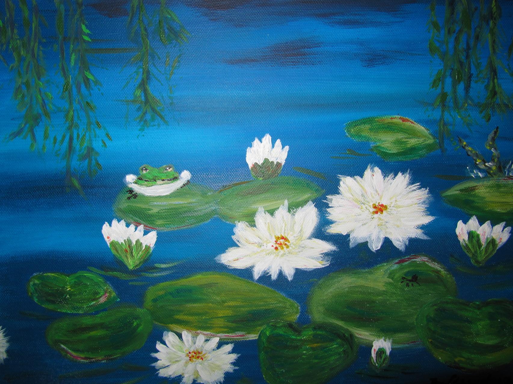 Am Teich 30 x 40 Acryl auf 3 D Keilrahmen