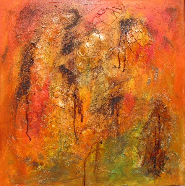 Broken Orange 50 x 50 Acryl auf Leinwand Spachteltechnik