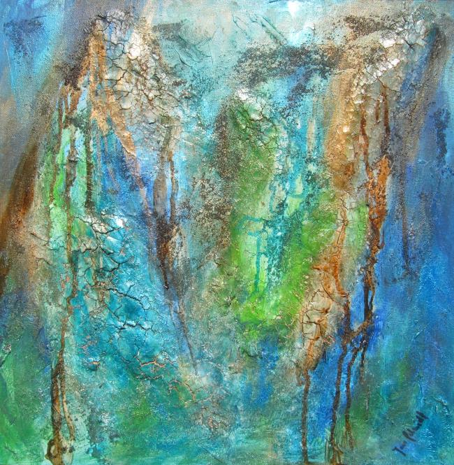 Broken Blue 50 x 50 Acryl auf Leinwand Spachteltechnik