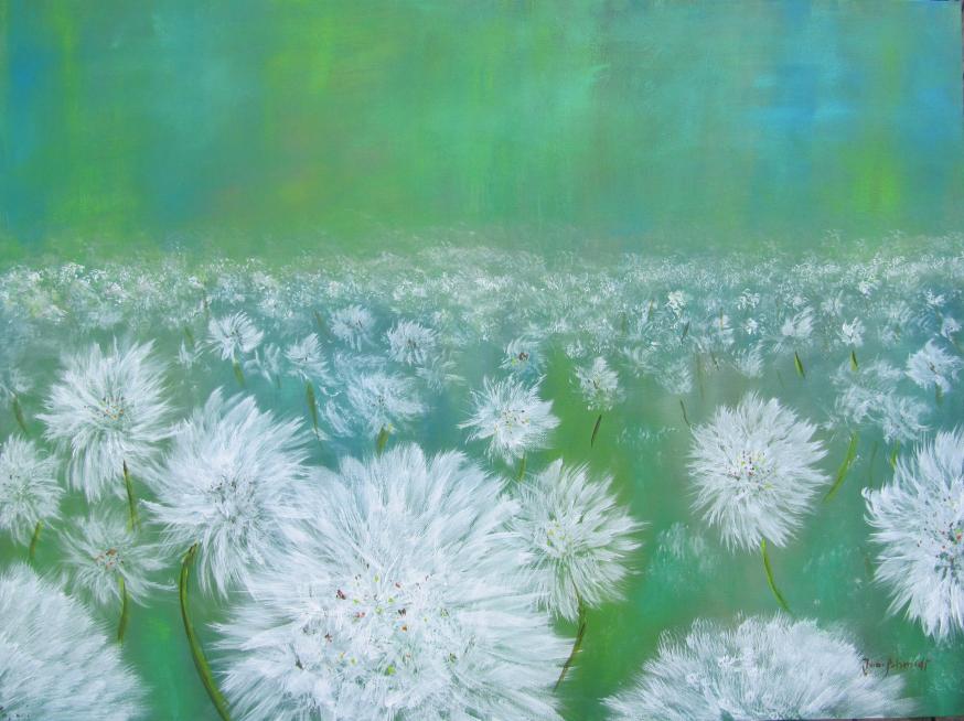 Pusteblumenwiese 60 x 80 Acryl auf 3 D Keilrahmen
