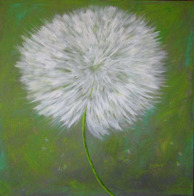 Pusteblume grün 100 x 100 Acryl auf Keilrahmen