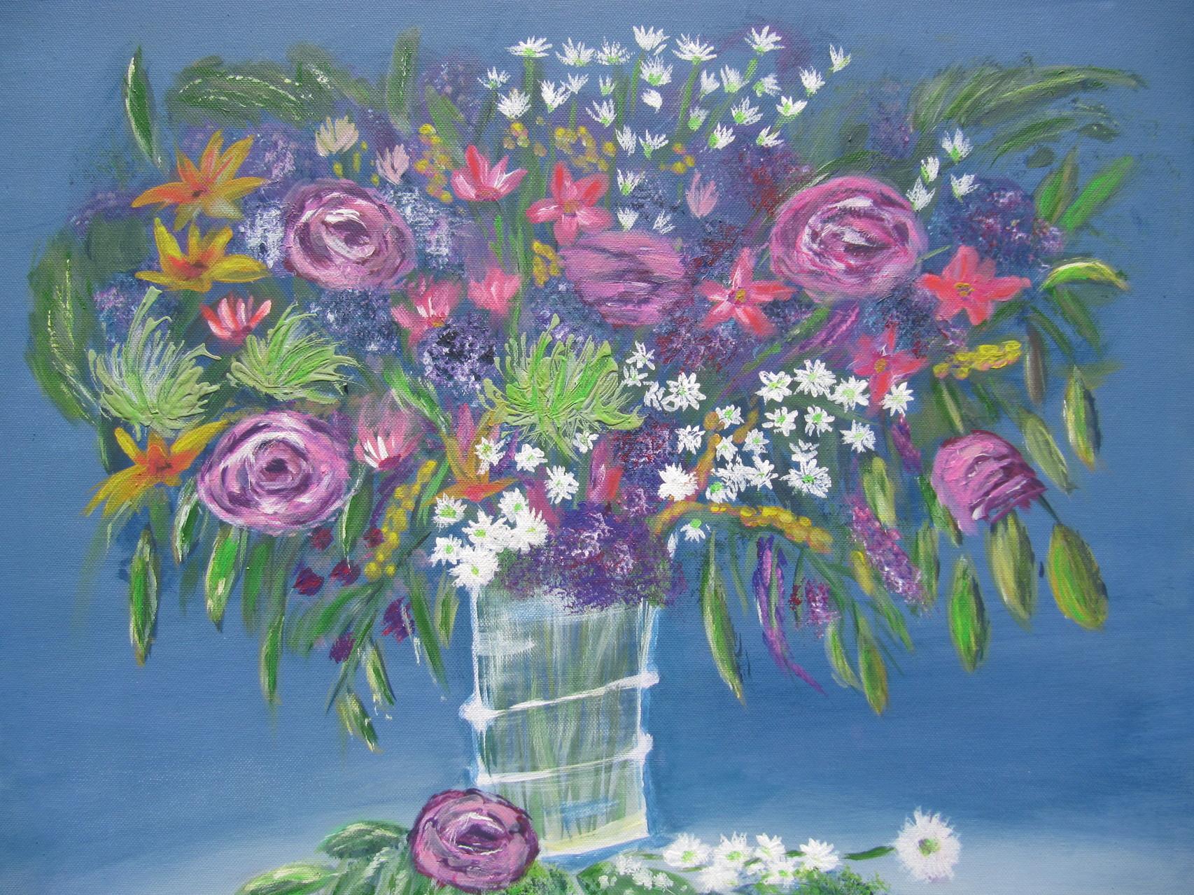 Flowers 50 x 60 Acryl auf 3 D Keilrahmen