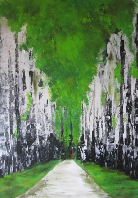 Birkenwald 70 x 100 Acryl auf 3D Keilrahmen