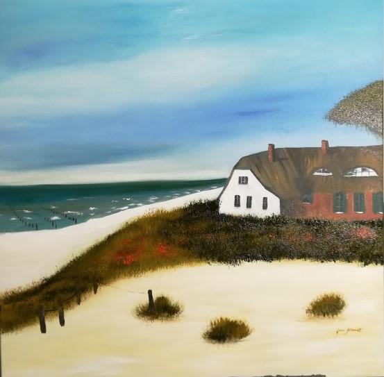 Haus am Meer II 80 x 80 Öl auf 3 D Keilrahmen