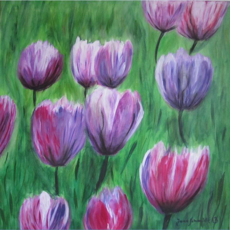 Tulpen 60 x 60 Acryl auf Keilrahmen
