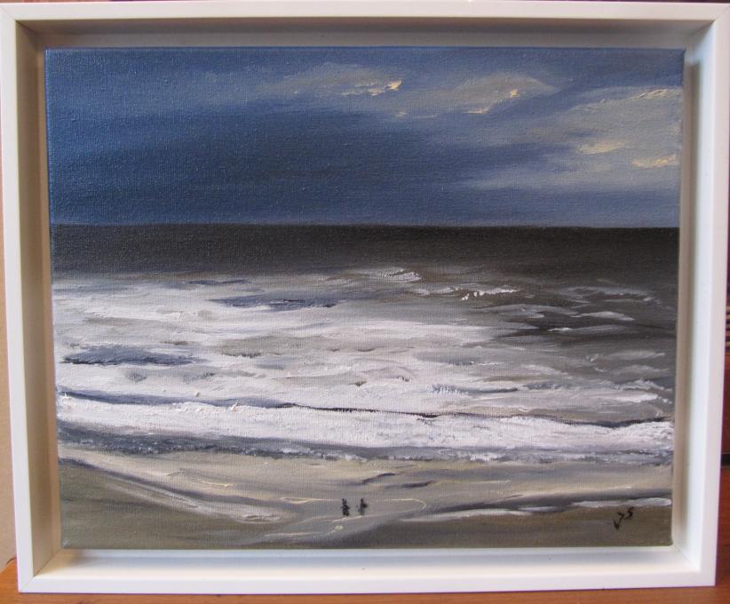 Stürmisches Meer 24 x 30 Öl  in Schattenrahmen