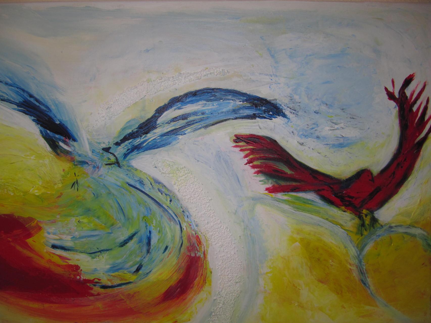 Paradiesvögel 50 x 80 Acryl auf Leinwand Spachteltechnik
