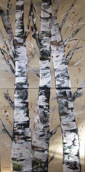 Birken 80 x 160 Acryl auf 3D Keilrahmen