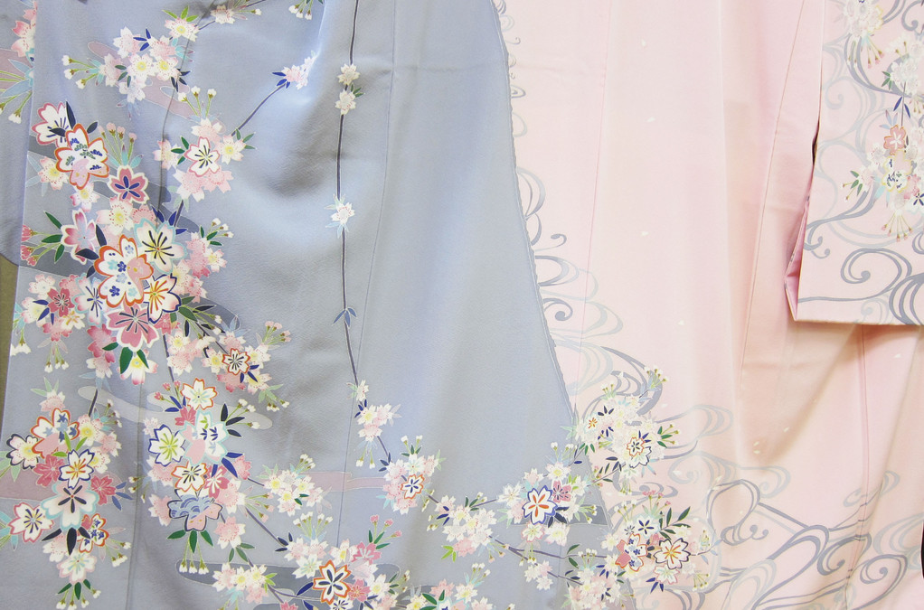 Kaga Yuzen long-sleeved kimono