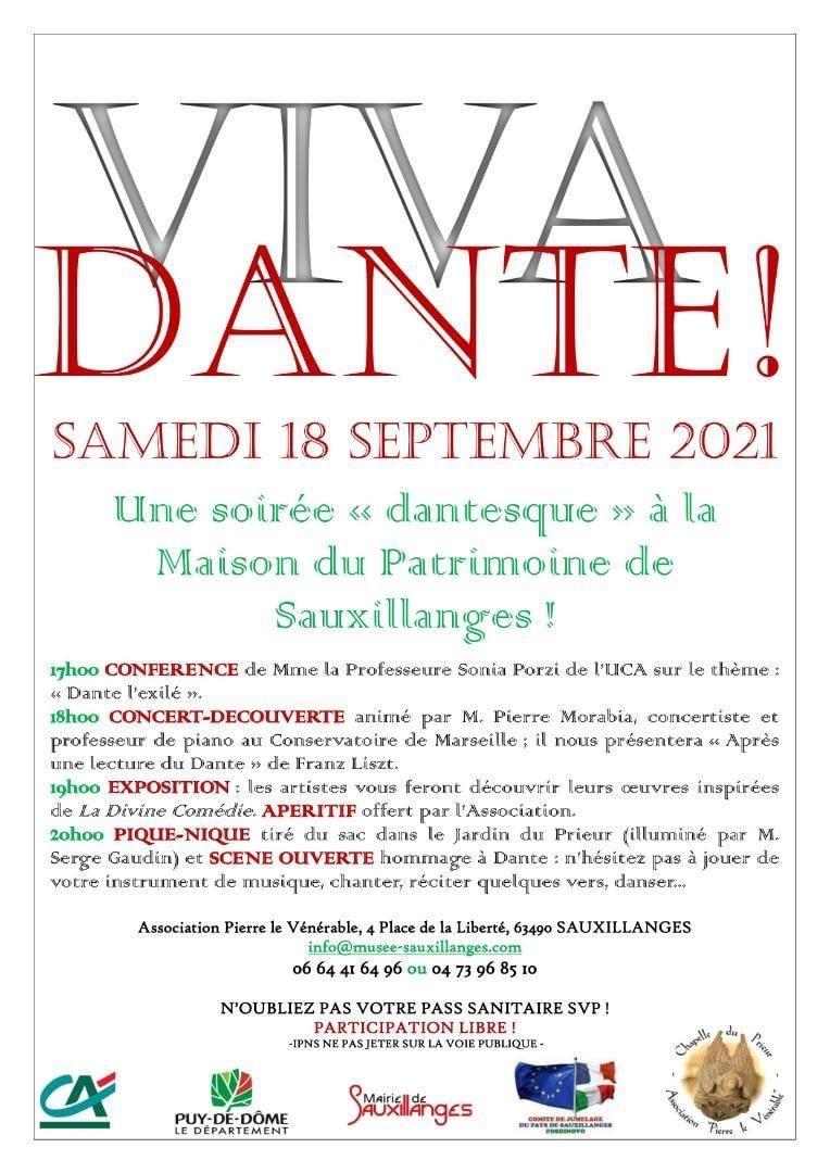 Soirée Dantesque samedi 18 septembre à Sauxillanges !