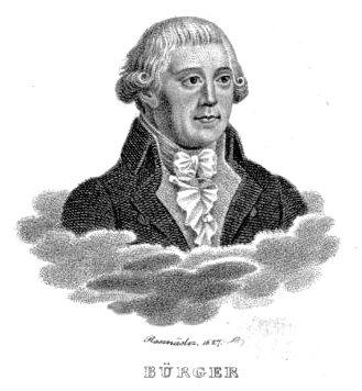 Porträt von Gottfried August Bürger, Kupferstich von Rosmäsler, 1827