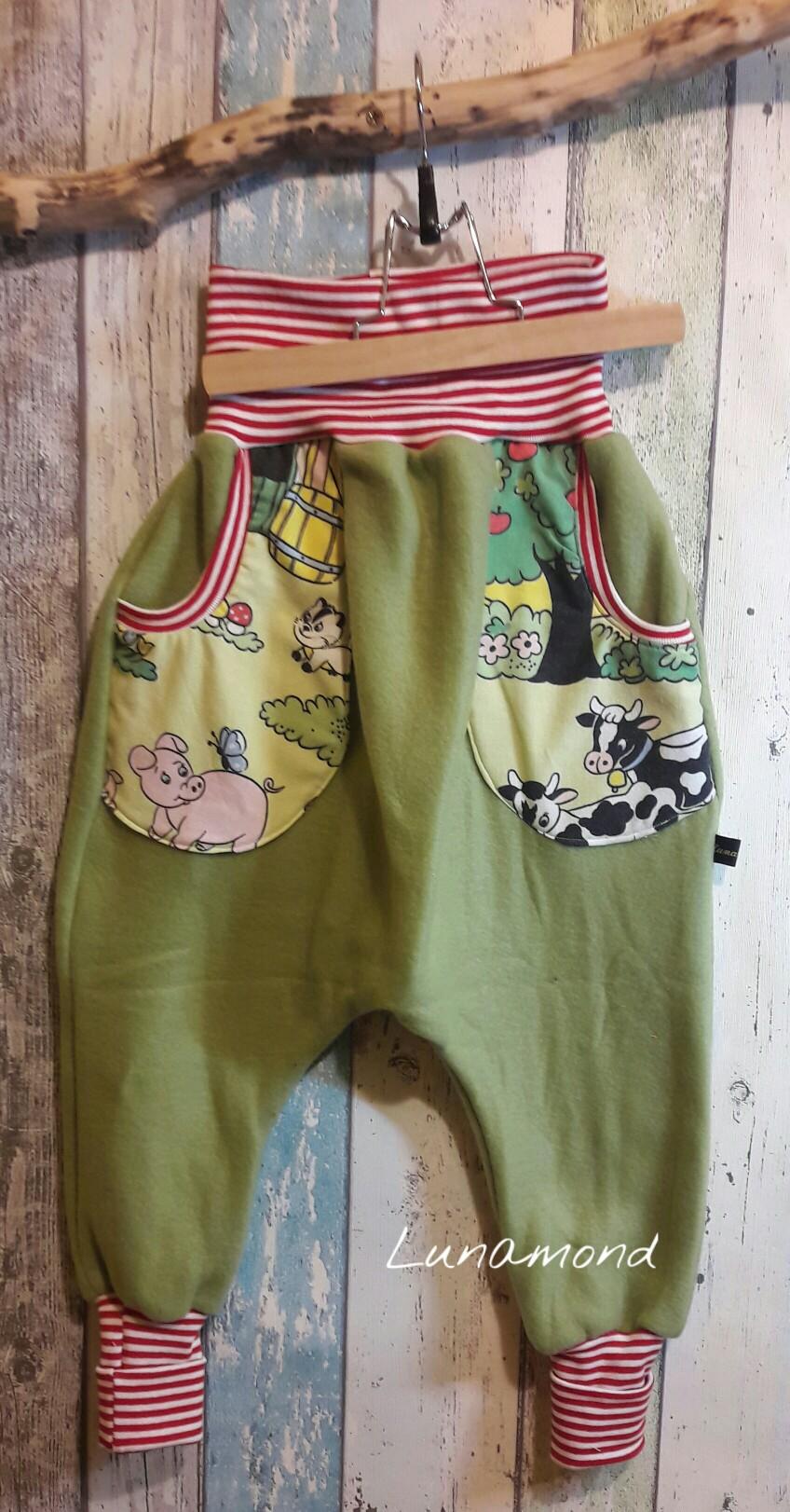 Pumphose Bauernhof/grün Fleece