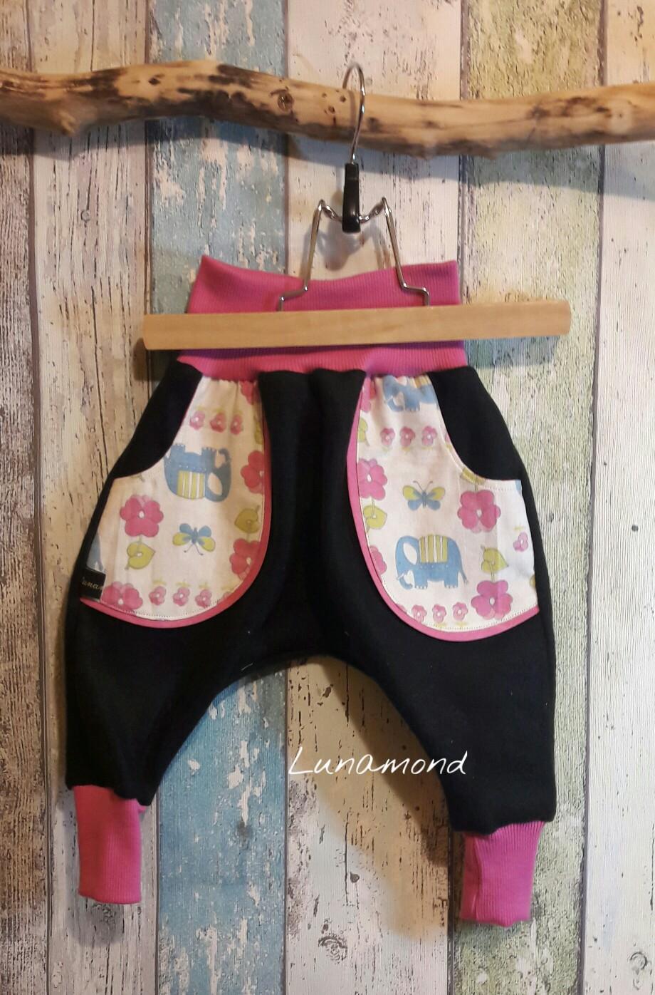 Pumphose Fleece schwarz/rosa