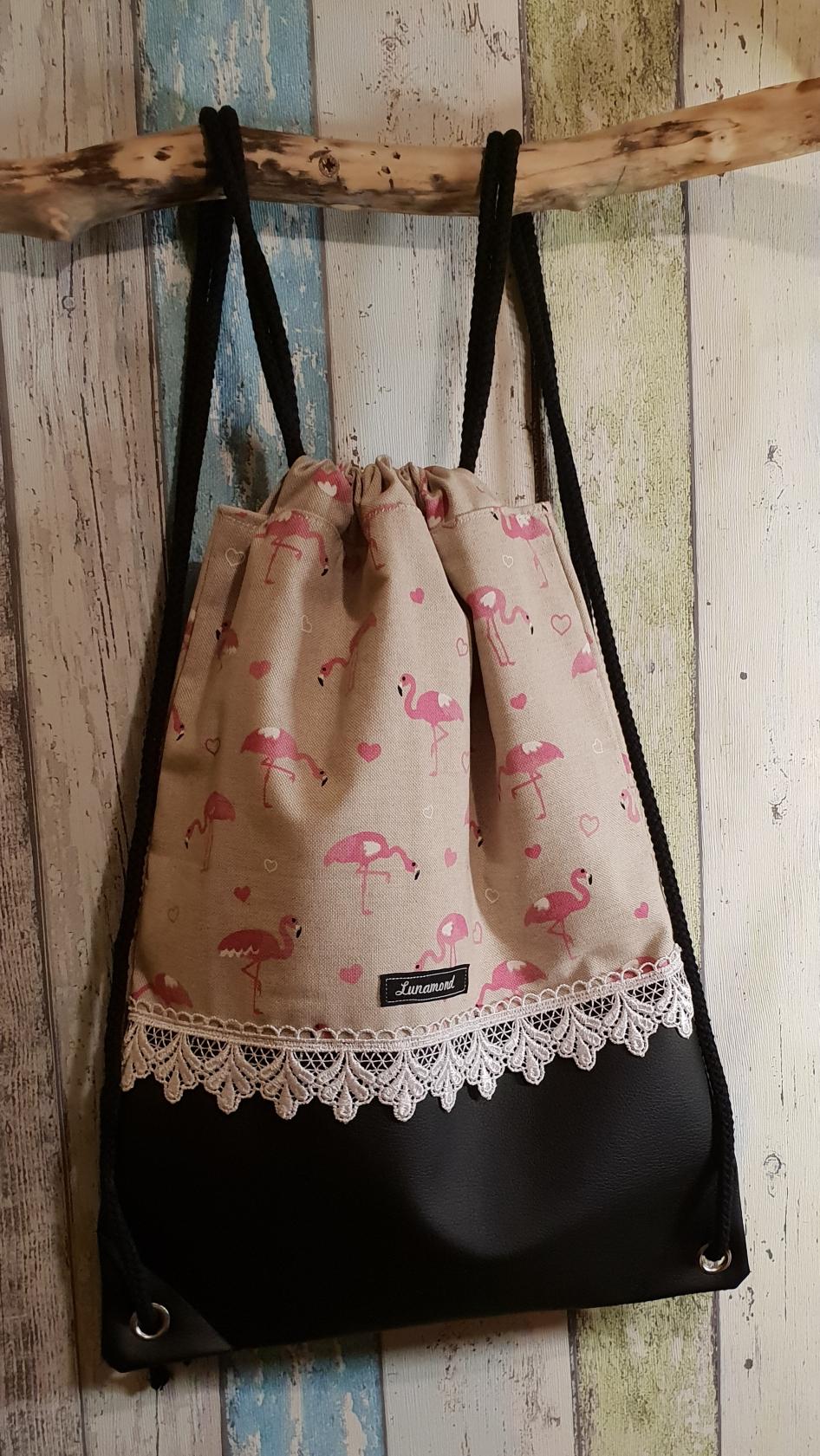 Flamingo/ Leder schwarz (Mit Ösen)