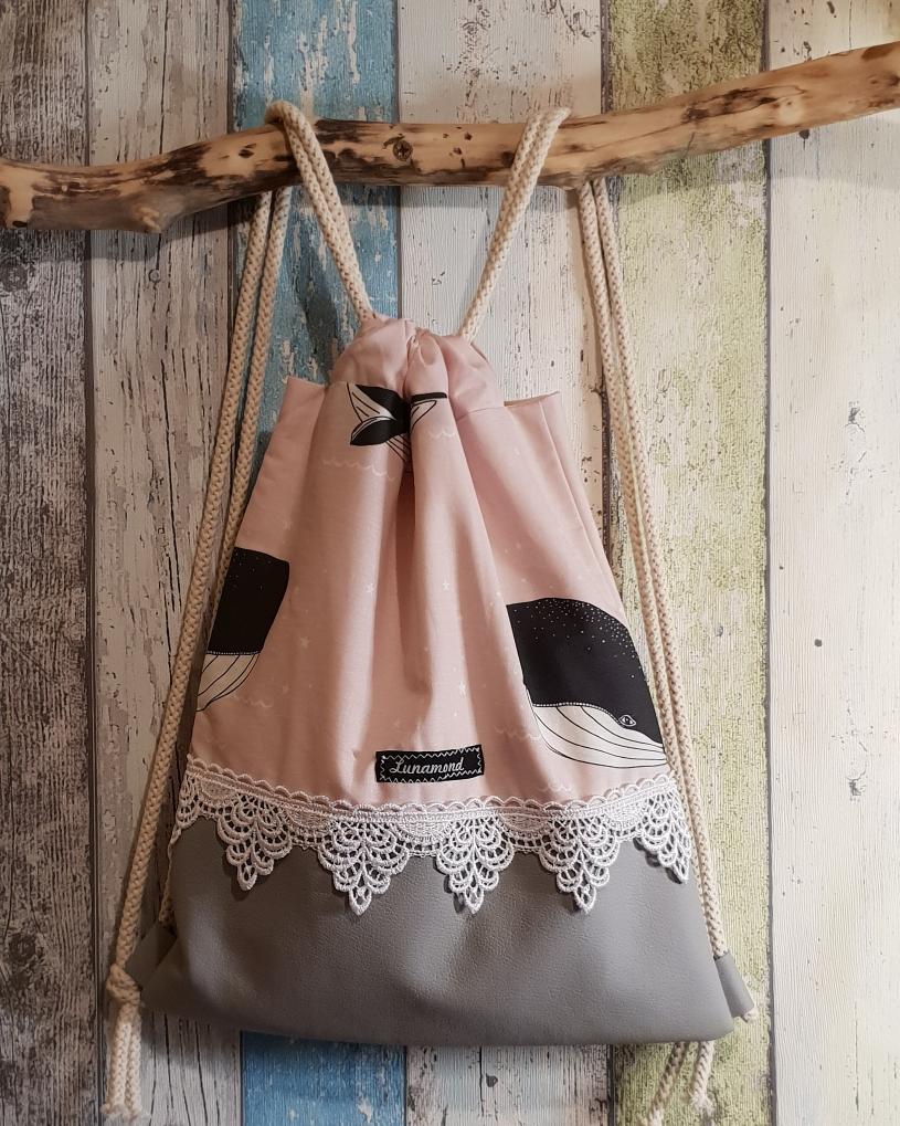 Kinderbeutel Wal rosa/Leder grau