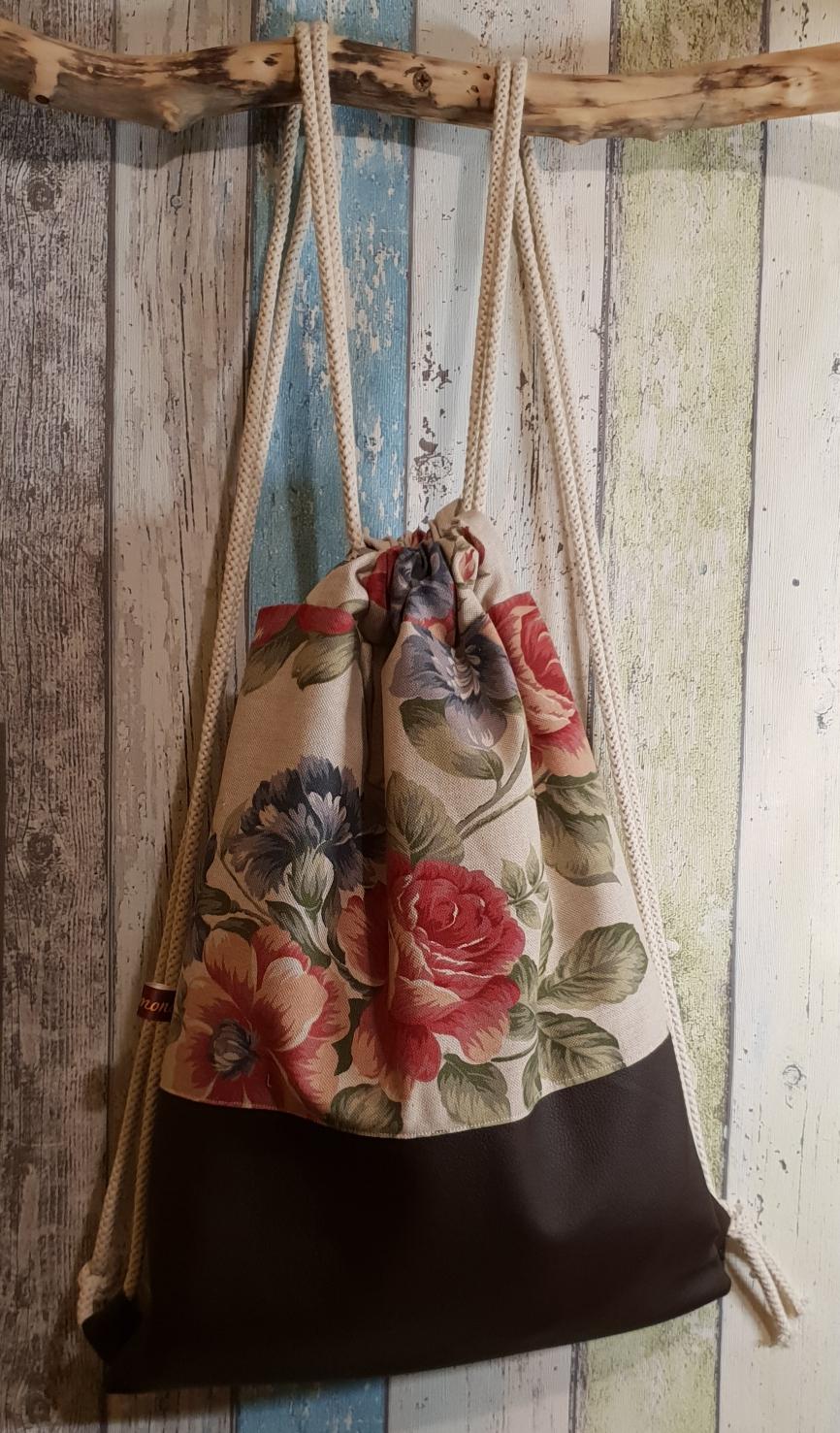 Blumen/Leder braun