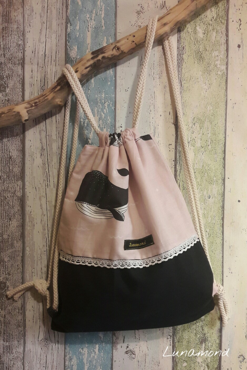 Kinderbeutel Wal rosa/schwarz.Maße 28x32cm