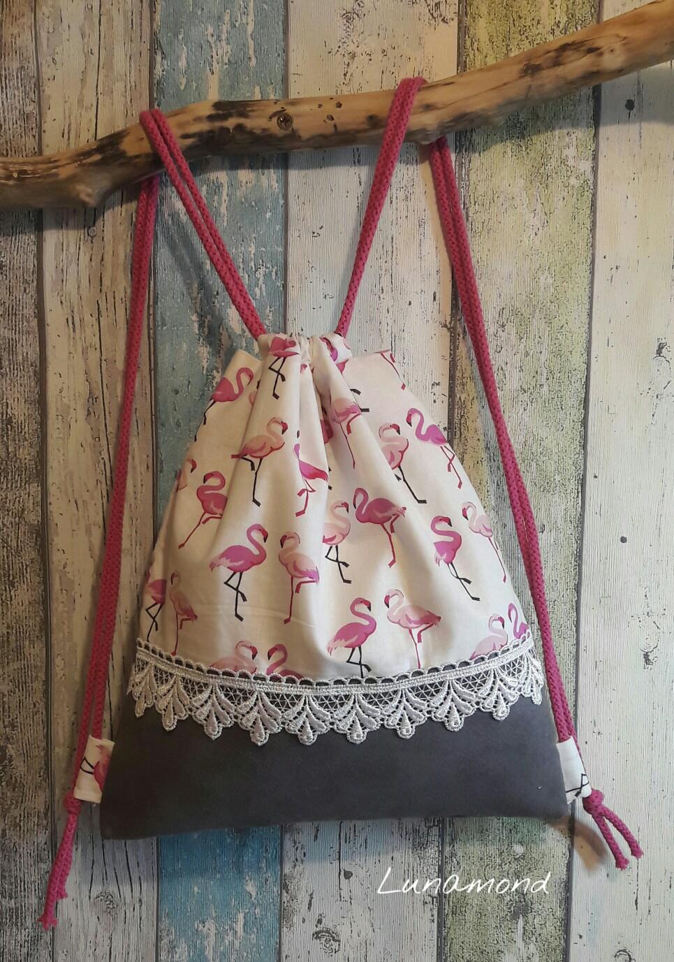 Beutel Wildleder/Flamingos