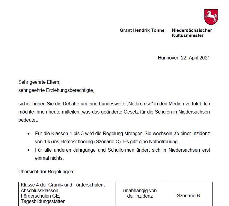 Brief des Kultusministers (04.05.21)