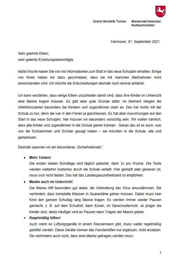 Elternbrief von Minister Tonne