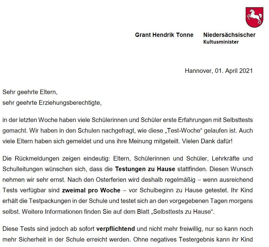 Kultusministerbrief (Schulbetrieb nach den Osterferien)