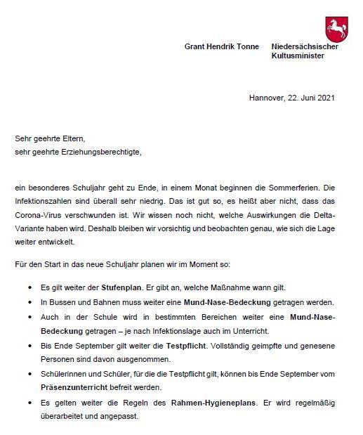 Aktueller Elternbrief des Kultusministers