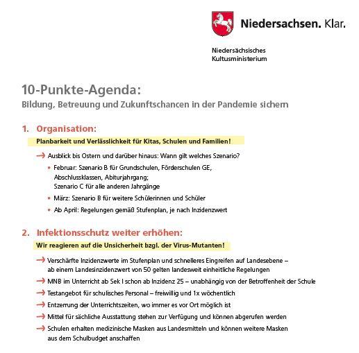 Elternbrief und 10-Punkte-Plan des Kultusministers