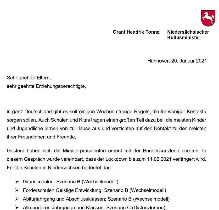 Elternbrief von Kultusminister Tonne