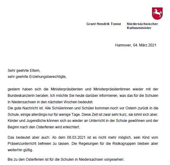 Neue Information von Kultusminister Tonne