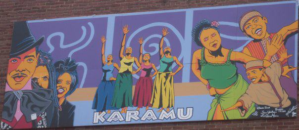 "Mural Including Photo from ""The Blacks: A Clown Show"" at Karamu House Theatre"