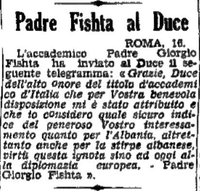 Burimi : Il Popolo del Friuli, e shtunë, 17 qershor 1939, f.2