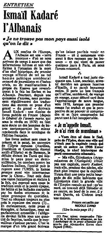 Burimi : Le Monde, e premte, 23 maj 1986, f. 15