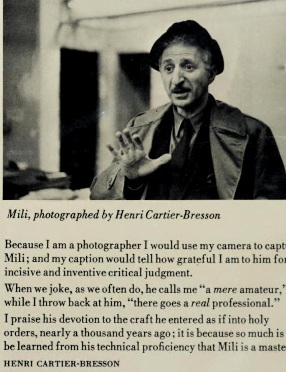 """Mili, fotografuar nga Henri Cartier-Bresson – Burimi : """"Gjon Mili : photographs & recollections"""", 1980"""