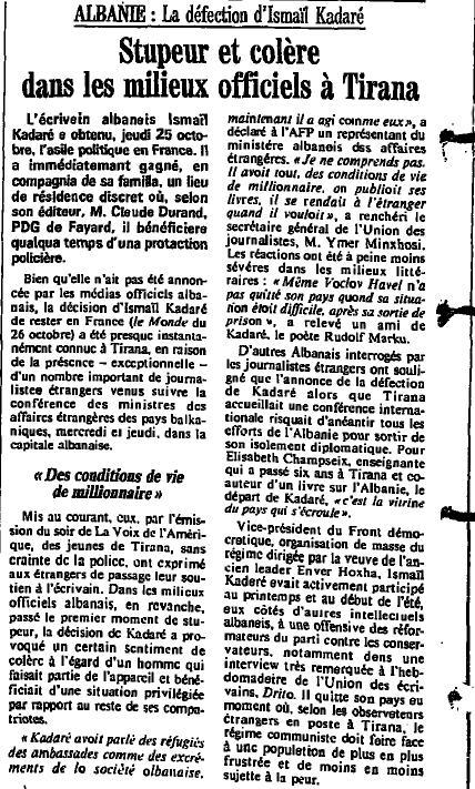 Burimi : Le Monde, 27 tetor 1990, f.8