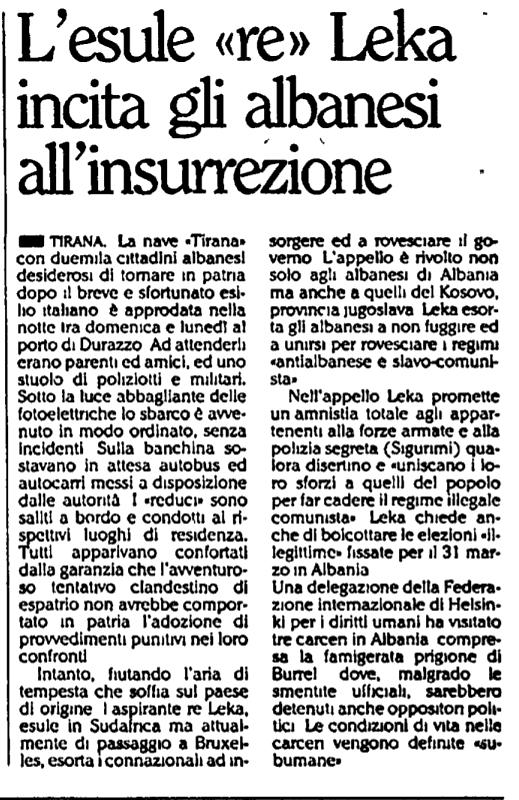 Burimi : L'Unità, e martë, 12 mars 1991, f.5