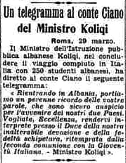 Burimi : La Stampa, e shtunë, 30 mars 1940, ballinë