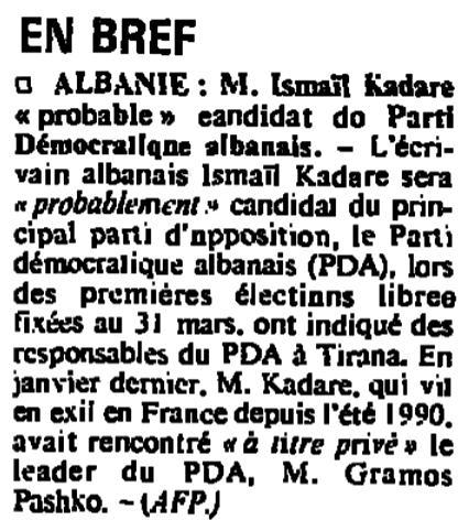 Burimi : Le Monde, e diel, 17 mars 1992, f.10