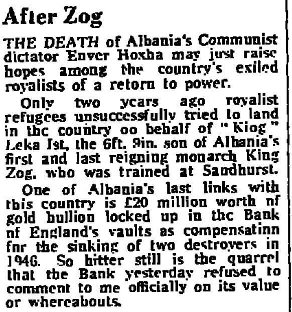 Burimi : The Daily Telegraph, 12 prill 1985, f.20
