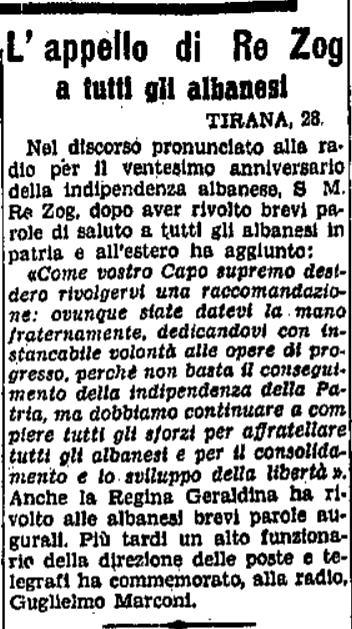 Burimi : Il Popolo del Friuli, e martë, 29 nëntor 1938, f.6