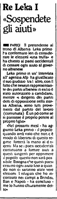Burimi : L'Unità, e martë, 2 prill 1991, f.3