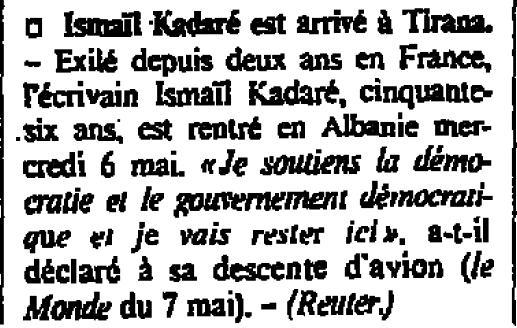 Burimi : Le Monde, 8 maj 1992, f.3