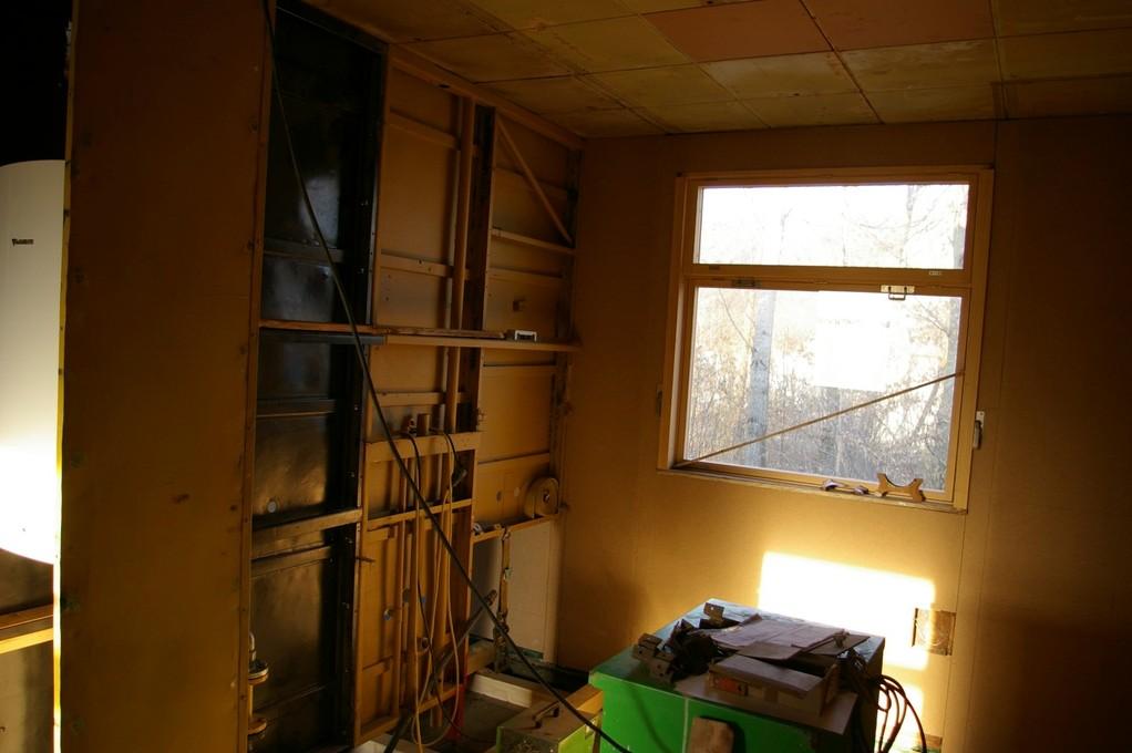 Einbau der Installationswand zwischen Küche und Bad