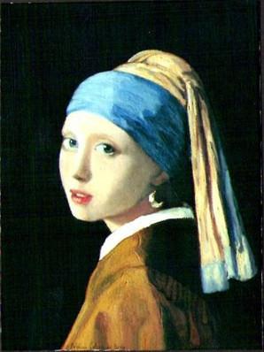 """""""La Jeune Fille à la Perle"""" VERMMEER de DELFT Copie Delphine DE LUCA (Huile sur toile)"""