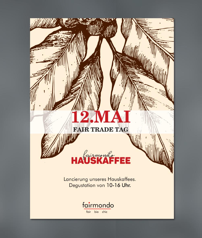 Fairmondo Hauskaffee Plakat, Einladungsflyer und Etikett